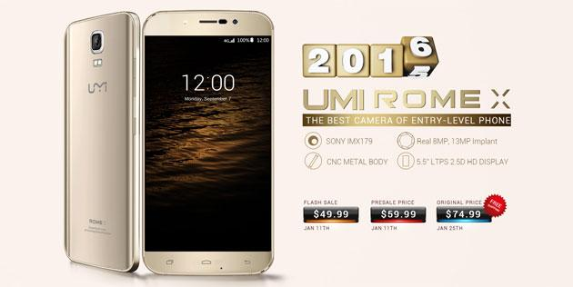 Umi Rome X, smartphone da 55 euro in pre-ordine