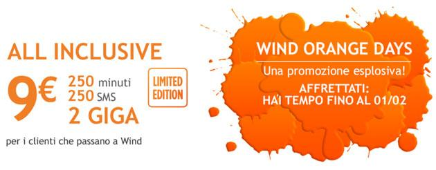 Wind Orange Days: All Inclusive Limited Edition a 9 euro