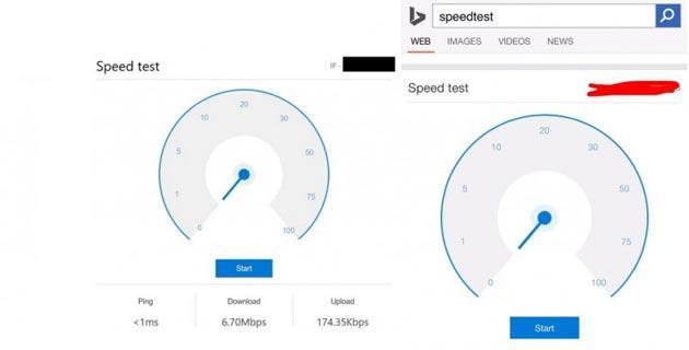 Microsoft in Bing integra strumento per testare velocita' di Internet
