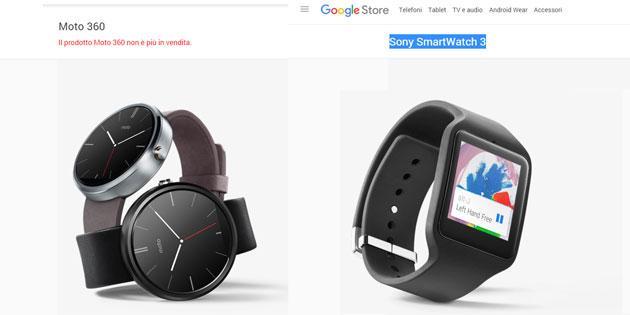 Google Store, Moto 360 e SmartWatch 3 non piu' disponibili
