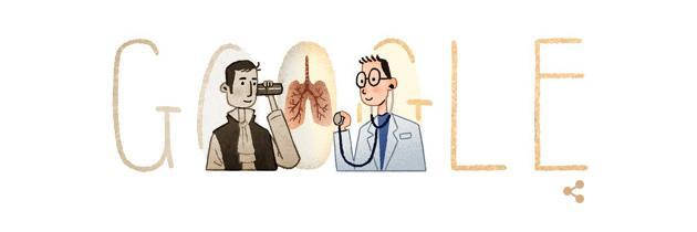 Google doodle per Rene Laennec, inventore dello stetoscopio
