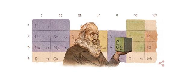 Google doodle per Dmitrij Mendeleev, inventore tavola periodica degli elementi