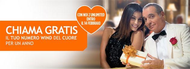 Wind NOI2 Unlimited per San Valentino: chiamate gratis verso numero preferito