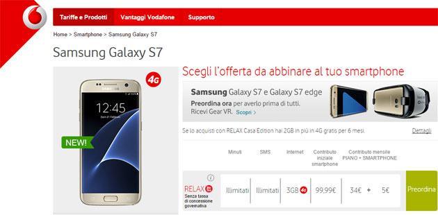 Samsung Galaxy S7, S7 edge con Vodafone: offerte Ricaricabili e Abbonamento