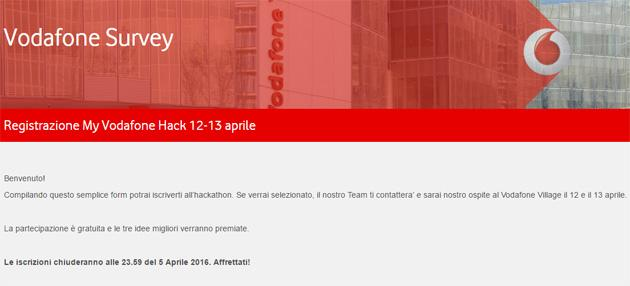 My Vodafone Hack 2016, iscrizioni aperte