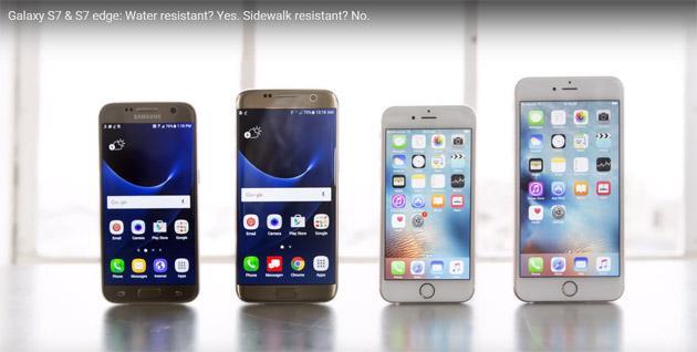 Galaxy S7 vs iPhone 6S: test resistenza contro Acqua, Cemento, Piegatura e Altro