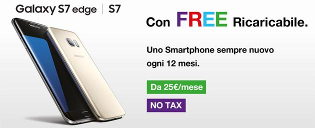 3 Italia: Samsung Galaxy S7, S7 edge con FREE Ricaricabile e Abbonamento