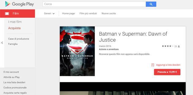Batman v Superman: Dawn of Justice in preordine su Google Play Film