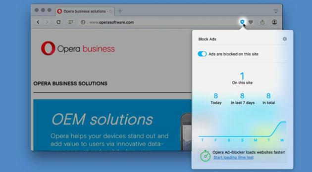 Opera browser blocca la pubblicita' su computer e mobile