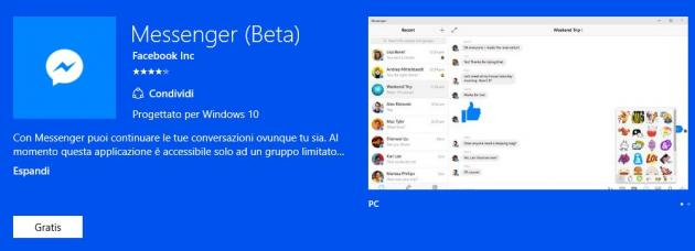 Messenger per Windows 10, Facebook introduce chiamate Voce e Video