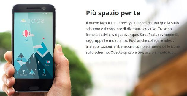 HTC 10 ha nuovo layout Freestyle