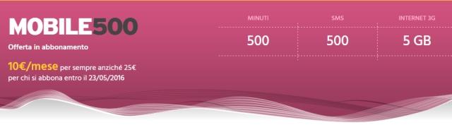 Fastweb Mobile 500: 500 minuti e 5 GB a 10 euro al mese