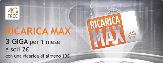 Wind Ricarica Max: 3GB per un mese con 2 euro fino al 22 aprile