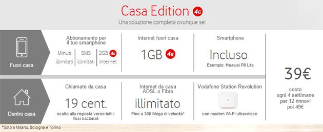 Vodafone Casa Edition, Fisso e Mobile da 39 euro