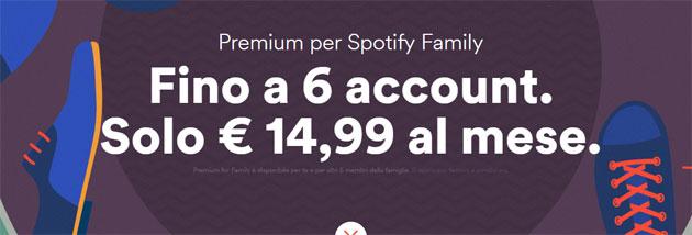 Spotify Family: fino a 6 account Premium per 14,99 euro al mese