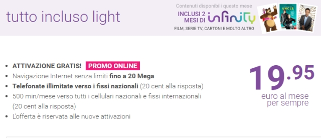 Tiscali Tutto Incluso Light: Adsl a 19 euro