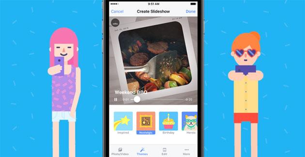 Slideshow Facebook crea automaticamente filmati da foto e video