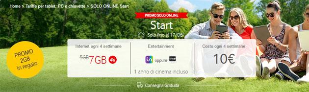 Vodafone Giga Start: 7 GB ogni 4 settimane a 10 euro (promo fino al 22 giugno)