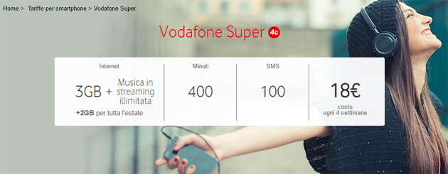 Vodafone Super: 3GB, 400 minuti, 100 SMS e streaming musica incluso a 18 euro per rinnovo