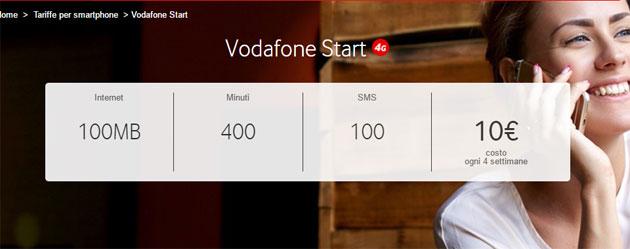 Vodafone Start: 400 minuti, 100 SMS per 10 euro a rinnovo