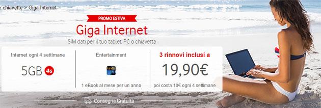 Vodafone Giga Internet, 5 GB per 3 rinnovi a 19,90 euro