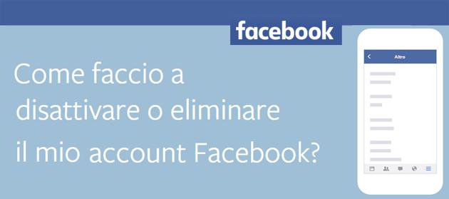 Facebook, come Eliminare o Disattivare account