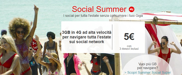 Vodafone Social Summer, Giga aggiuntivi solo per alcuni Social Network