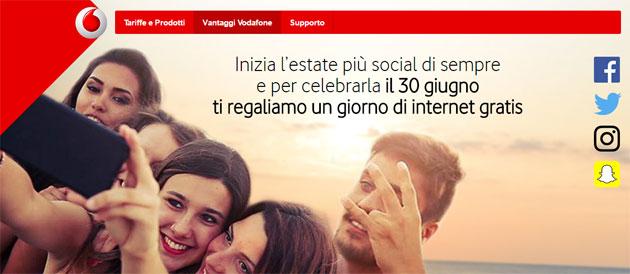 Vodafone: Internet gratis il 30 Giugno 2016