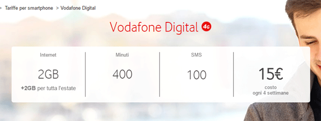 Vodafone Digital: 2GB , 400 minuti, 100 SMS per 15 euro a rinnovo
