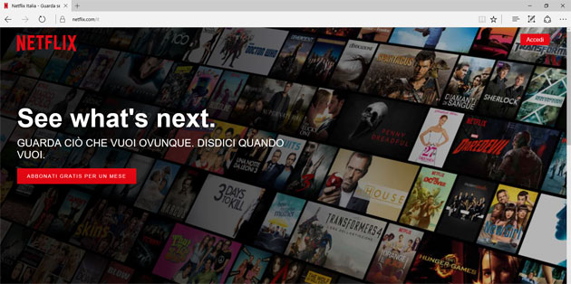 Microsoft Edge supporta il 4K di Netflix, unico browser