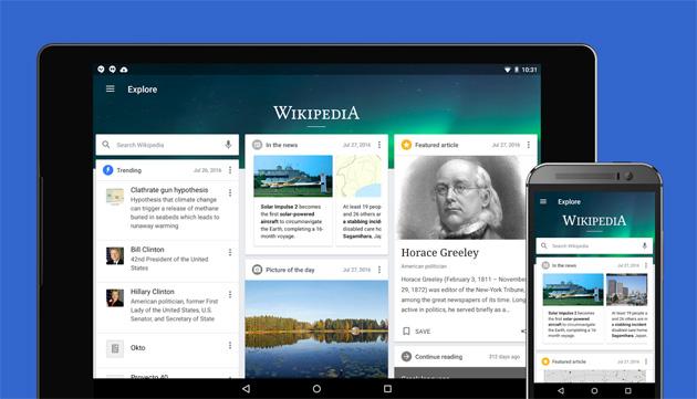 Wikipedia per Android introduce il feed Esplora