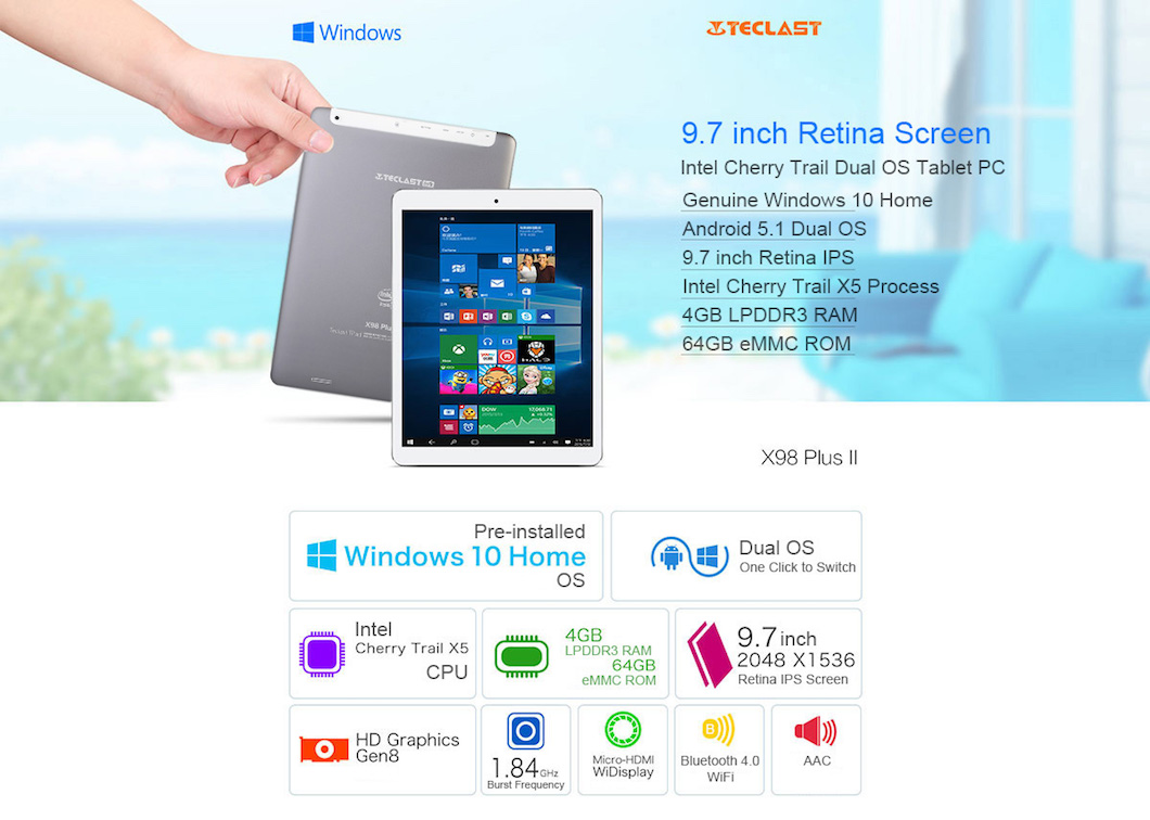 Teclast X98 Plus II, ottimo Tablet con Android e Windows 10 in offerta