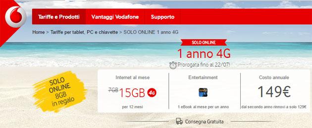 Vodafone, solo online 15GB 4G al mese per 1 anno (scade il 22 luglio)