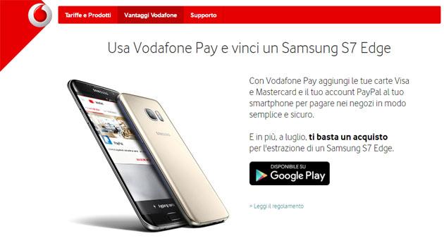 Vodafone Pay, concorso regala Samsung Galaxy S7 edge