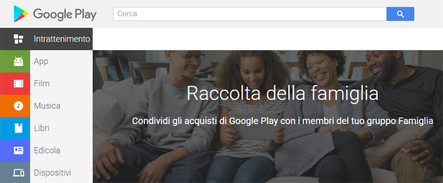 Gruppo Famiglia Google per condividere App, Giochi, Film, Libri, Youtube TV, Calendario e altro ancora