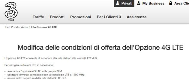 3 Italia, opzione 4G LTE a pagamento dal 18 aprile 2017