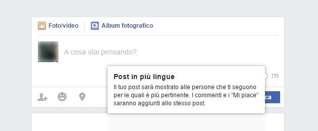 Facebook attiva i post multilingue