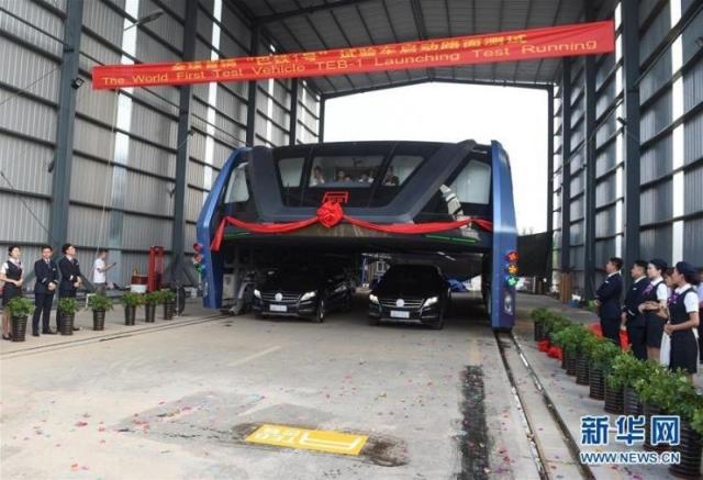 Teb, Transit Elevated Bus, testato in Cina