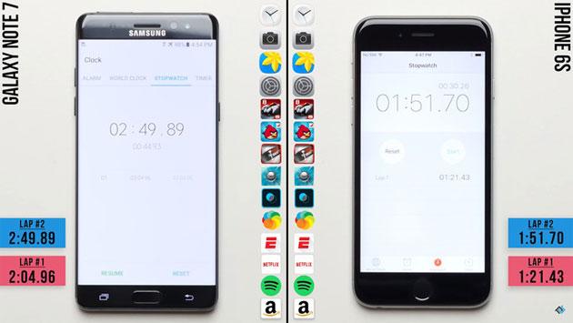 Galaxy Note 7 piu' lento di iPhone 7 e iPhone 6s: i test