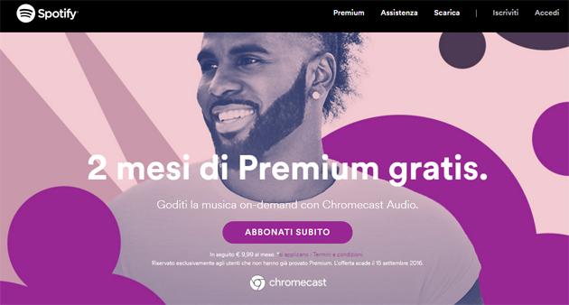Chromecast regala Spotify Premium 2 mesi