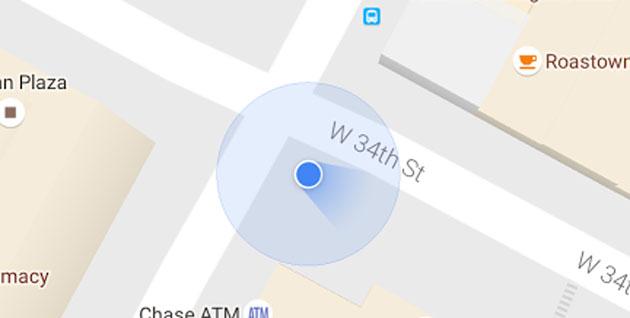 Google Maps, nuovo fascio di luce blu per segnalare la direzione