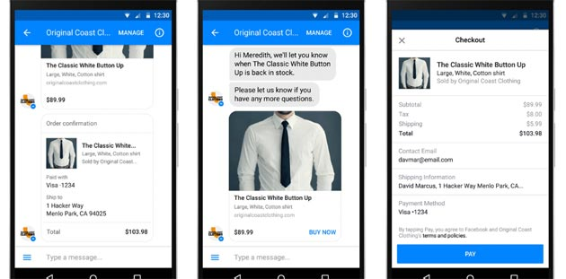 Shopping via Messenger, Facebook testa i pagamenti in-app