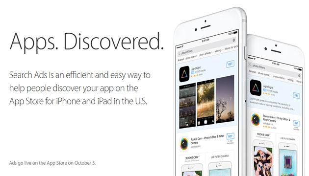 Apple, annunci su App Store dal 5 Ottobre