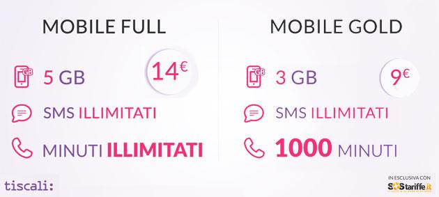 Tiscali Mobile Full e Gold, tariffe da 9 o 14 euro molto convenienti