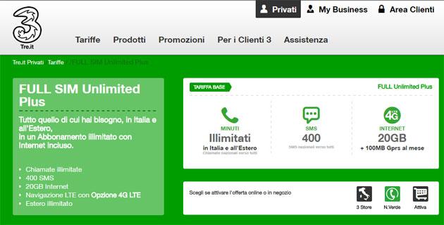 3 Italia FULL SIM, piani abbonamento con fino a 20 Giga
