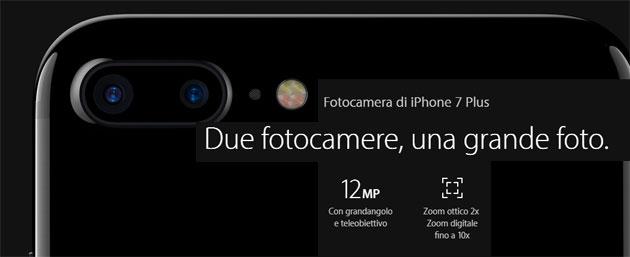 Apple iPhone 7 Plus, focus sulla Fotocamera Doppia posteriore