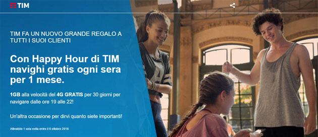 TIM Happy Hour: ogni sera navigazione 4G gratis per 1 mese