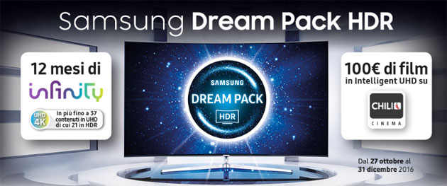 Samsung Dream Pack HDR regala film UHD HDR di Infinity