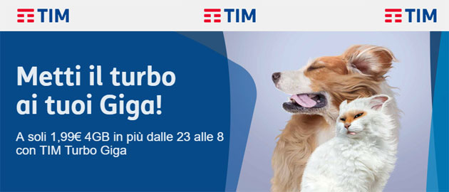 TIM Turbo Giga: 4GB per navigare dalle 23 alle 08 con 2 euro
