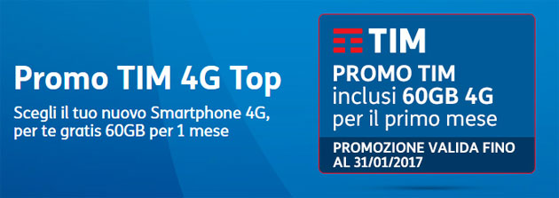 Promo TIM 4G Top: 60GB di Internet per chi acquista nuovo smartphone 4G